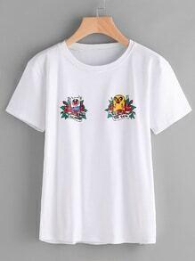 Camiseta larga con estampado de dibujo