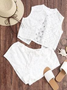 Split Back Lace Top With Drawstring Waist Lace Shorts