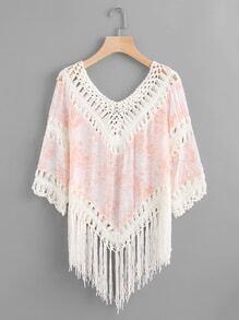 Camisa de croché con estampado floral con espiga