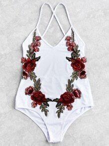 Flower Patch Cross Strap Swimsuit