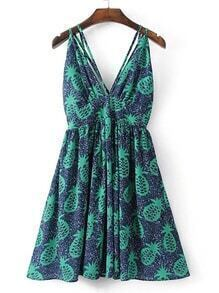 Double V Neck A Line Beach Dress