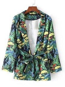 Notch Lapel Tropical Print Blazer With Self Tie