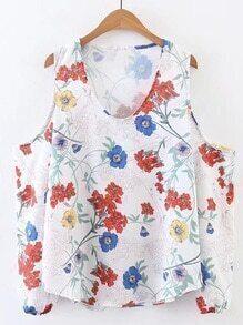 Top con estampado floral con hombros abiertos