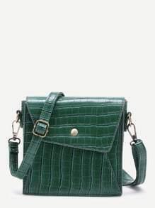 Studded Detail Crocodile Print Shoulder Bag