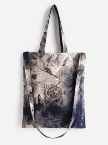 Ink Linen Shopping Bag With Handle