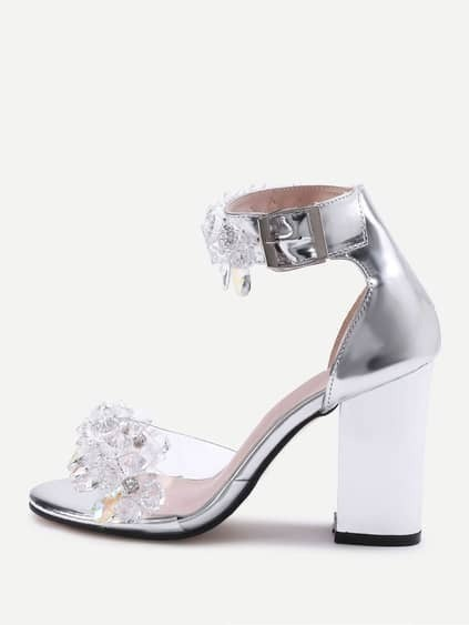Crystal Embellished Metallic Faux Leather Heeled Sandals