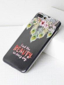 Funda para iPhone 7 Plus transparente con estampado de cazador de sueños y flor