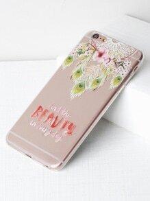 Funda para iPhone 6 Plus/6s Plus transparente con estampado de cazador de sueños y flor