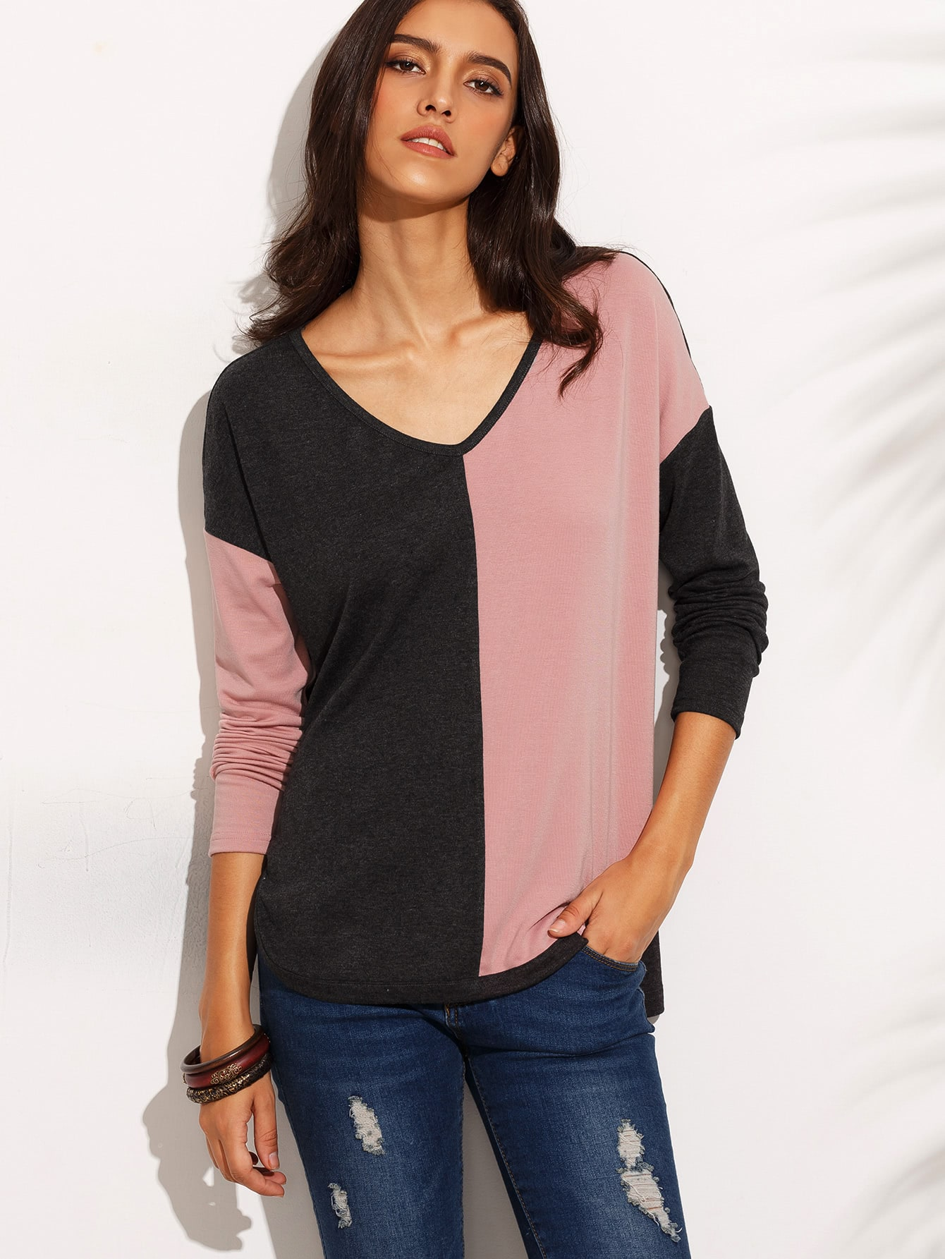 Color Block Drop Shoulder High Low T-shirt