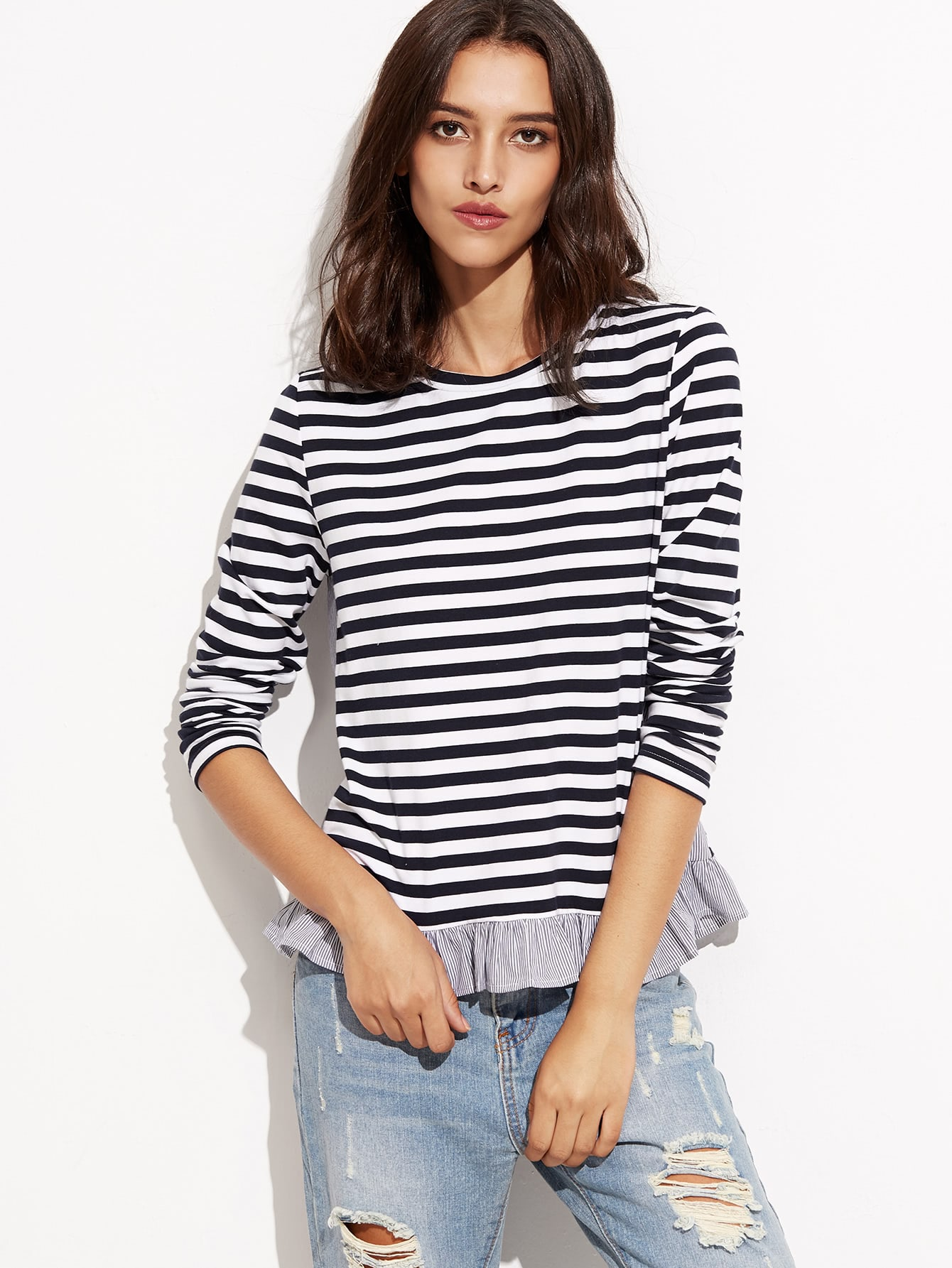 Navy And White Striped T Shirt With Ruffle Trim