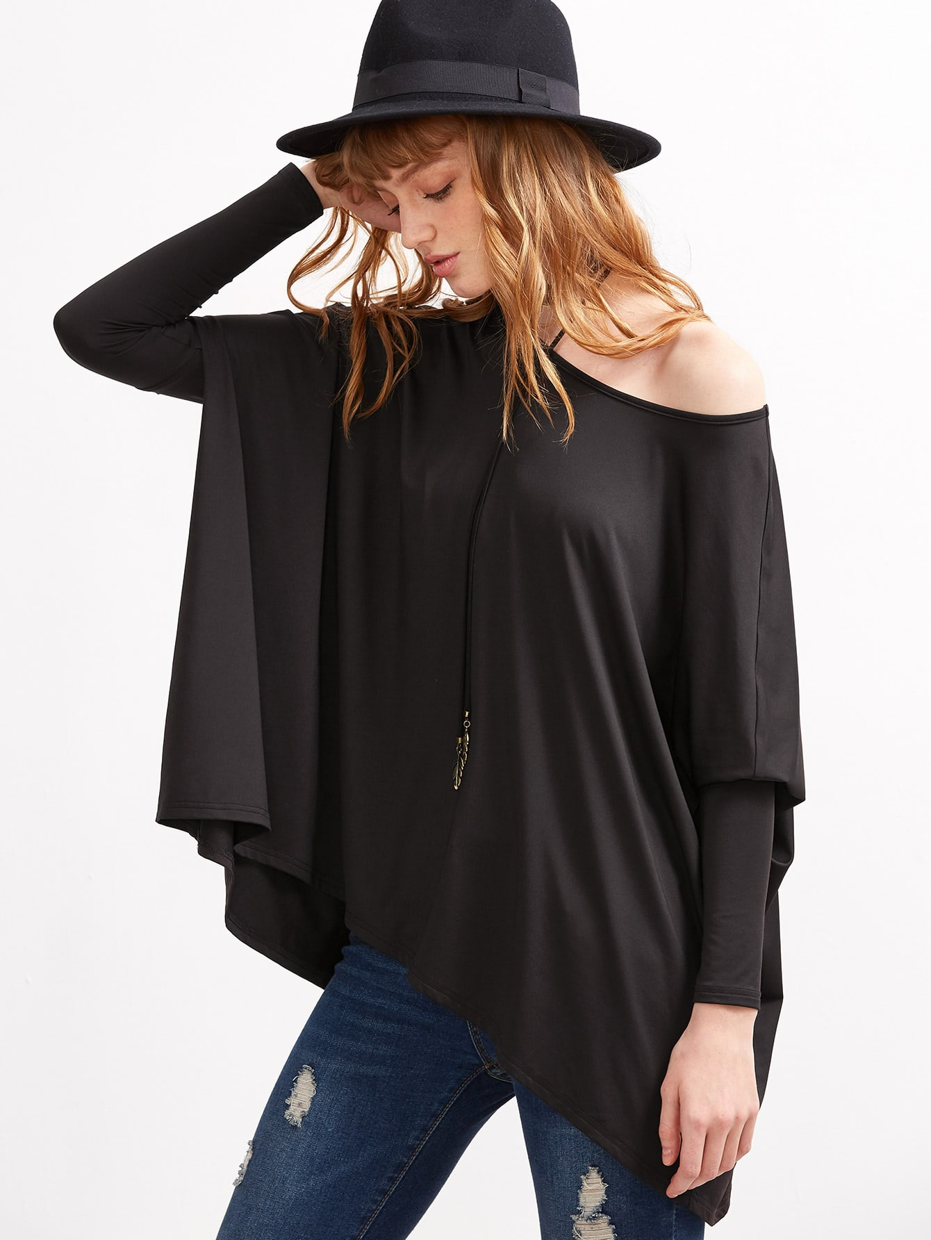 Black Boat Neck Oversized Dolman Sleeve T-shirt