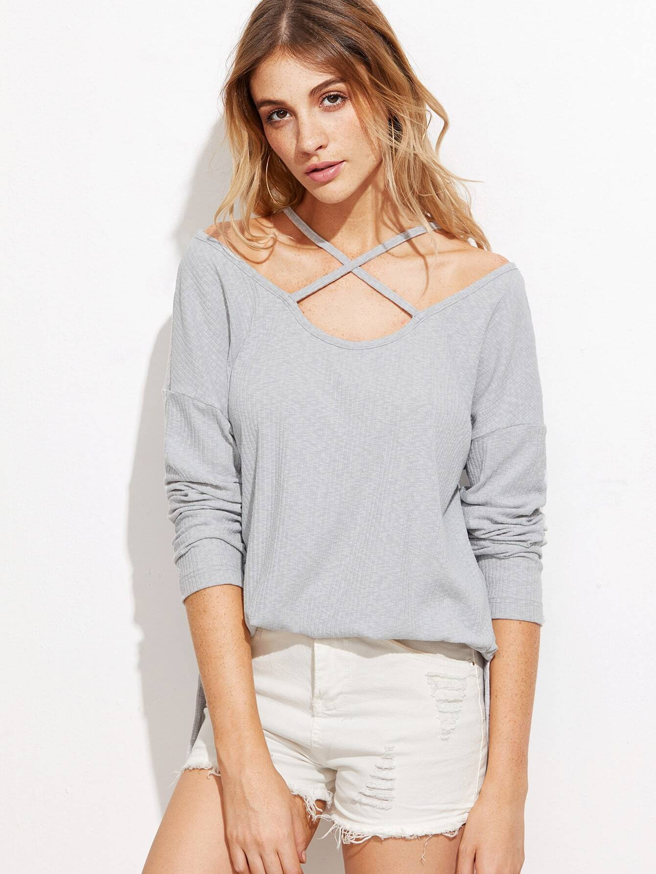 Heather Grey Ribbed Crisscross Cold Shoulder T-shirt