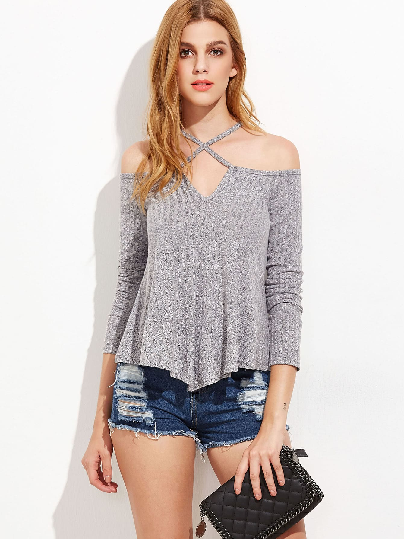 Grey Marled Knit Criss Cross Cold Shoulder T-shirt
