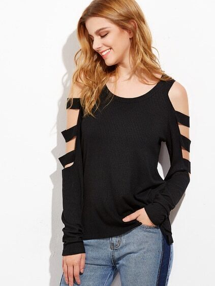 Black Cold Shoulder Ladder Cutout Sleeve T-shirt