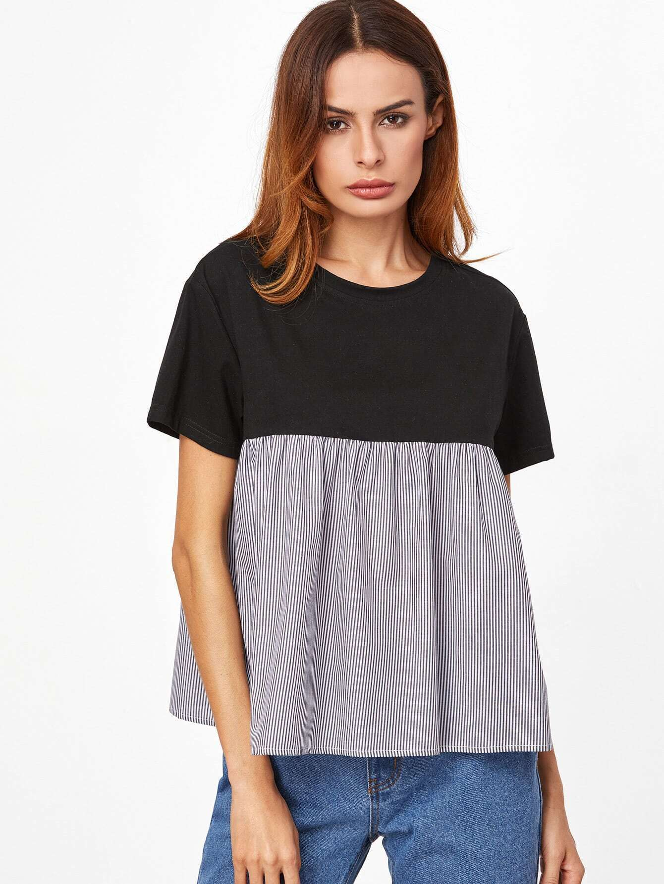Contrast Striped Trim Babydoll T-shirt
