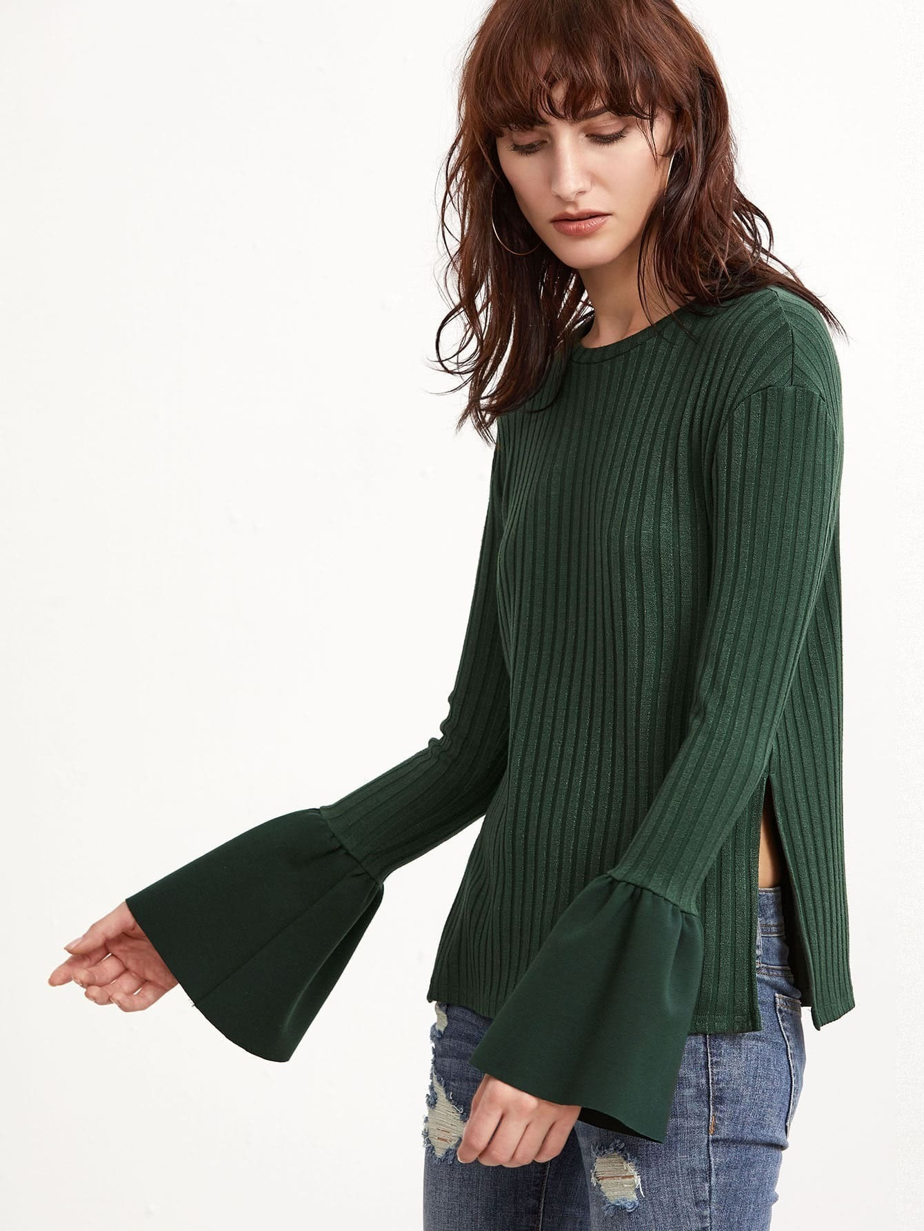 Green Ribbed Knit Bell Cuff Side Slit T-shirt