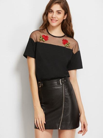 Black Embroidered Rose Applique Mesh Shoulder T-shirt