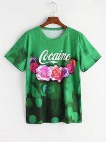 Grüner Buchstabe und Blumendruck-T-Shirt
