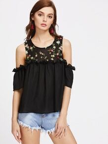 Flower Embroidered Yoke Cold Shoulder Ruffle Top