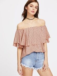 Polka Dot Print Flounce Layered Neckline Top