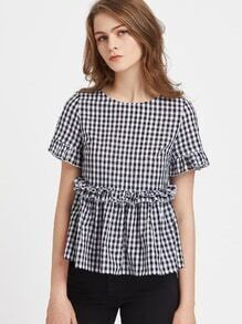 Ruffle Detail Button Back Gingham Peplum Top