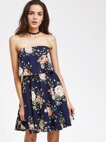 Flower Print Two Layer Bandeau Dress