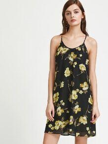 Vestido con estampado de flor y espalda con cordón