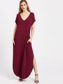 robe col V avec des poches sur le bord avant et courbé