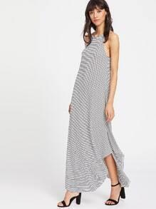 Striped Curved Hem Racer Dress