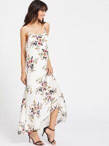 Vestido de tirante irregular de espalda de cuello redondo con estampado botánico