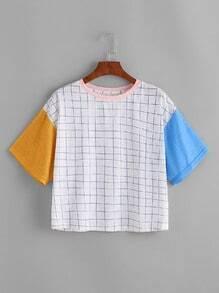 Grid Print Color Block Cut And Sew T-shirt