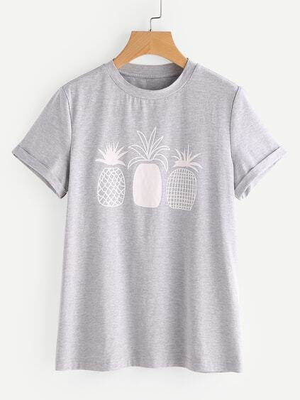 Pineapple Print Roll Cuff Tee