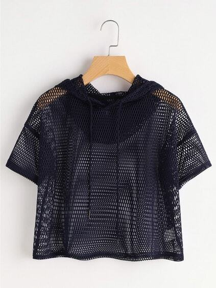 Drop Shoulder Crop Fishnet Hooded Top