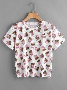Camiseta con estampado de patatas fritas ron rotura