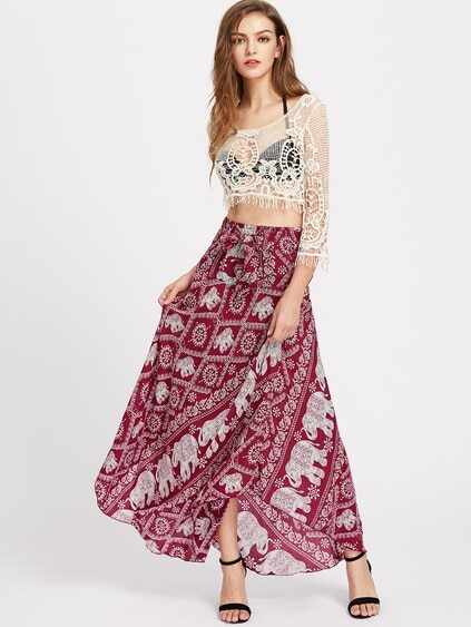 Elephant Print Bow Tie Detailed Maxi Skirt