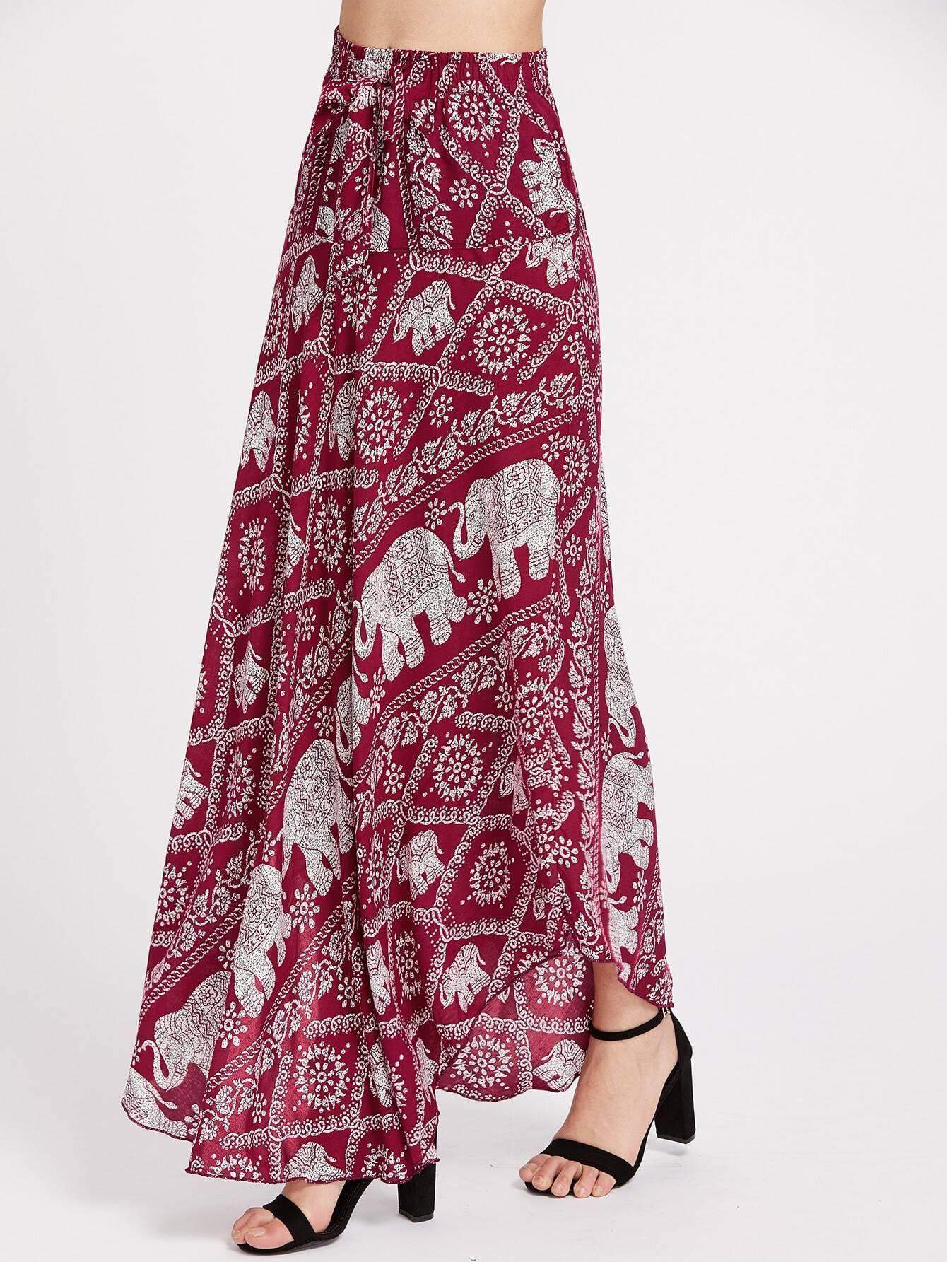 Falda maxi con dise o de lazo con estampado de elefante for Disenos de faldas