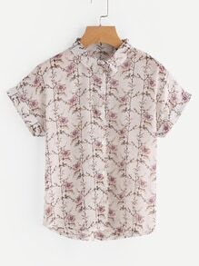 Blusa de gasa de manga de doblez con estampado floral