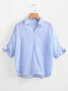 Blusa de rayas de manga con lazo