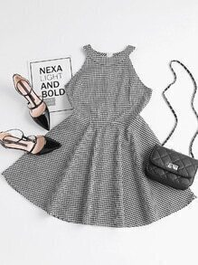 Checked Zip Back Flare Dress