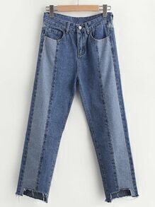 Paneled Raw Cut Hem Crop Jeans