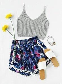 Floral Print Pom Pom Trim Shirred Shorts