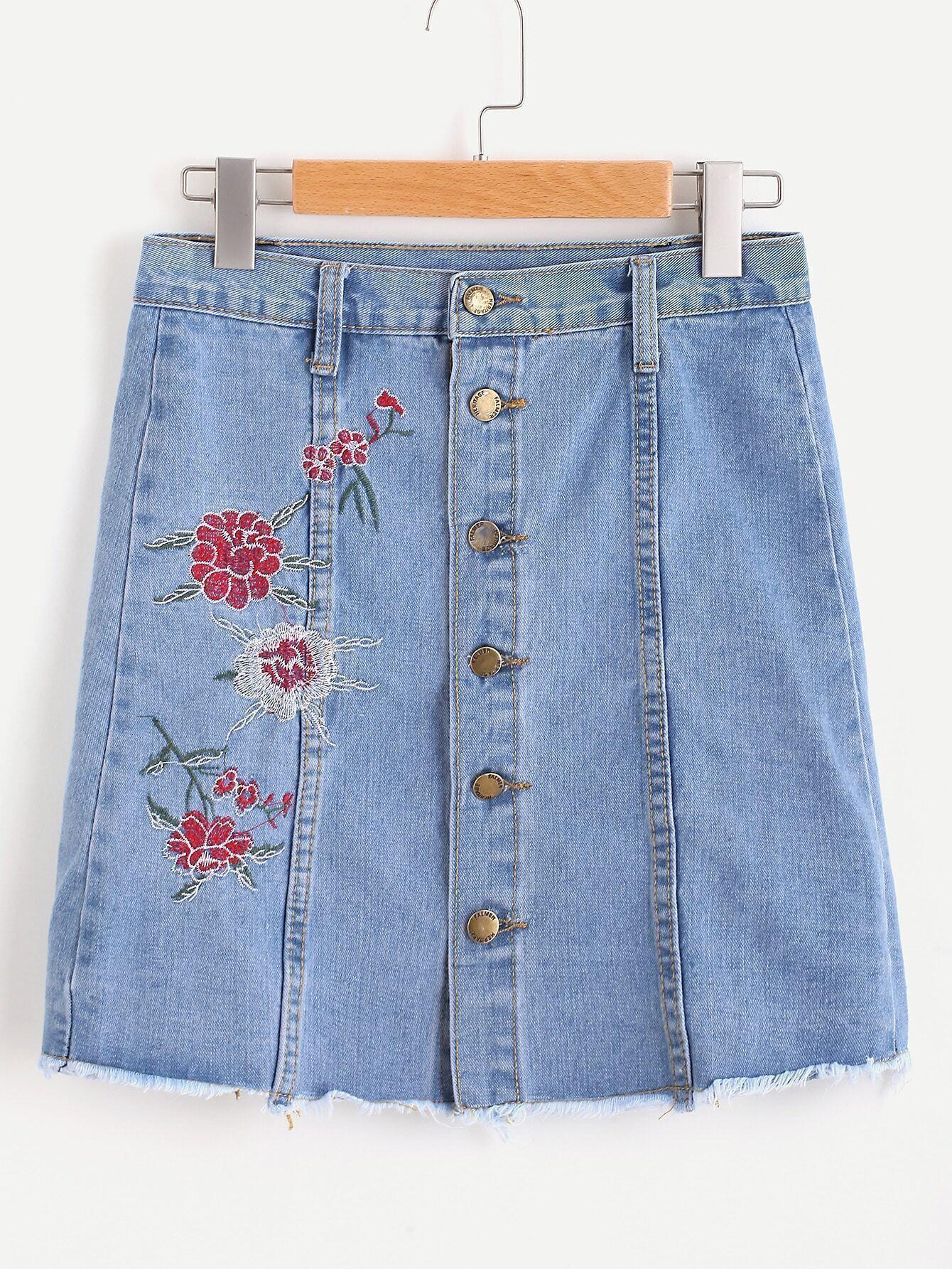 Floral Embroidered Single Breasted Fray Hem Skirt