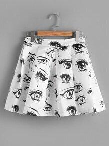 Eye Print Random Zip Back Pleated Skirt
