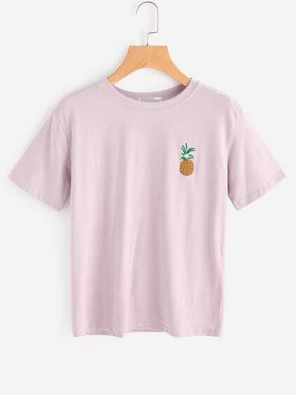 Camiseta bordada de piña