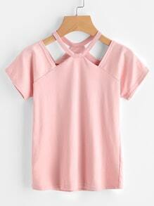 Cut Out Neck Ribbed Tee