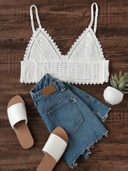 Top col en V en crochet