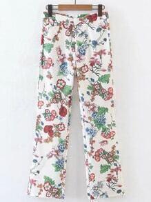 Pantalones largo con estampado de flor