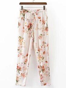 Pantalones con estampado floral de cintura con cordón