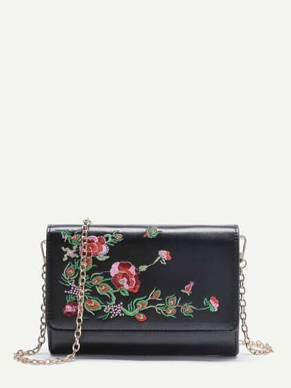 Flower Embroidery PU Crossbody Bag