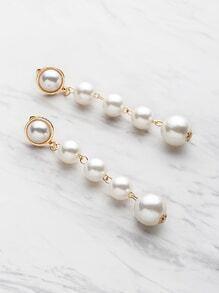 Pendientes con colgante de perla de imitación
